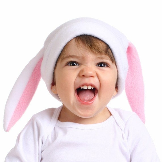 FUNNY BUNNY White Rabbit Fleece Hat Custom sizes infant toddler child