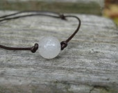 Brown Leather and White Jade Floating Solitare Beaded Bracelet