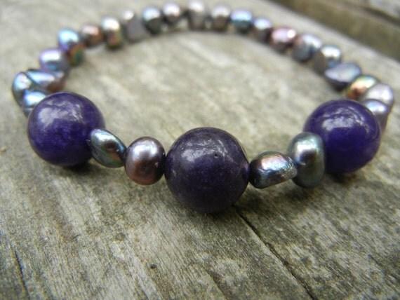 Black Pearl and Purple Jade Bracelet