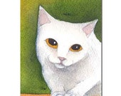 Patient Kitty - CAT - ACEO Original Watercolor Painting - Cute Cat by Allison Stein