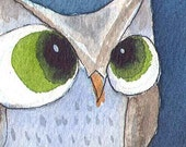 Whooo Blue - OWL - ACEO Print  - Signed Limited Edition by Allison Stein - Whimsical art card
