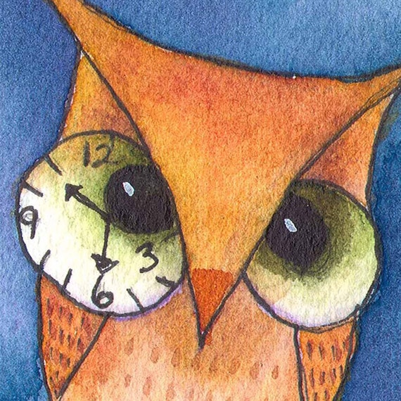 Half Past Owl O-Clock - Steampunk OWL - ACEO Print - Signed Limited Edition by Allison Stein - Whimsical art card