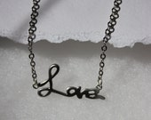 Silver tone love charm necklace rhodium plated SALE