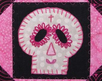 Sugar Skull Quilt, Pink