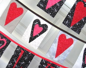 Black and Red Heart Bunting