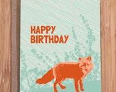 funny birthday card / foxy