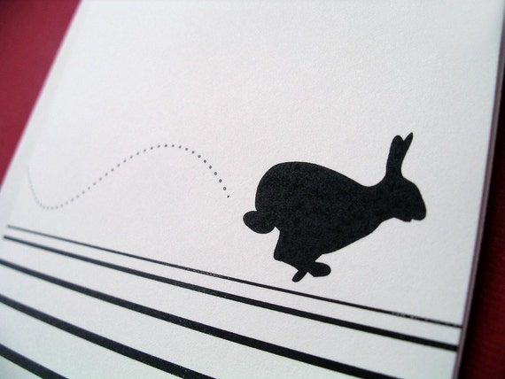Racing Rabbit Personalized Notes w\/ Hand Stitched Felt Pouch (Black\/White)