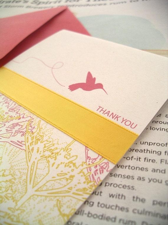 hummingbird thank you card set / stationery / box of 6 ribbon cards