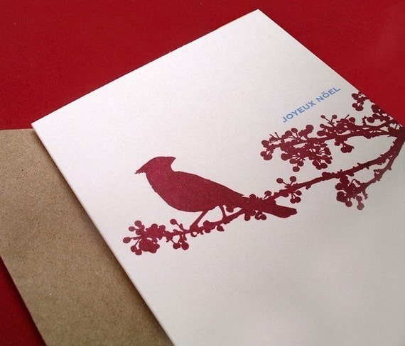 Joyeux Noel - Cardinal in Berry Branch (set of 6 screen printed cards)