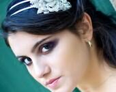 Amelia  Dramatic Bridal  Crystal flower cluster, headband, fascinator - K051