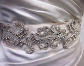 Cynthia Ann Crystal Beaded , Wedding Gown Belt/Sash,Super Glam, Bridal Belt