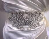 Claudia hand made crystal, beaded bridal sash