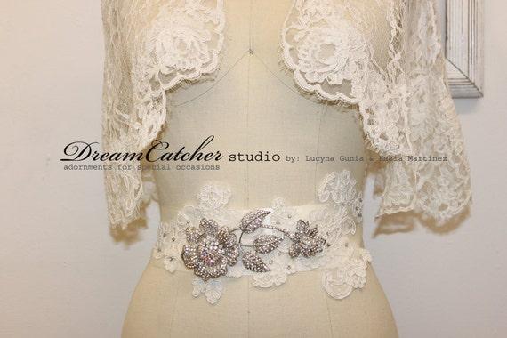 Miranda Vintage Alencon Lace Wedding Gown Belt with Crystal Brooch, Sash - CC031