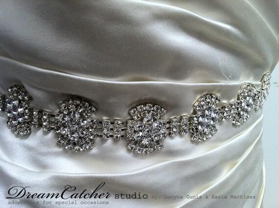 Mia modern crystal bridal sash