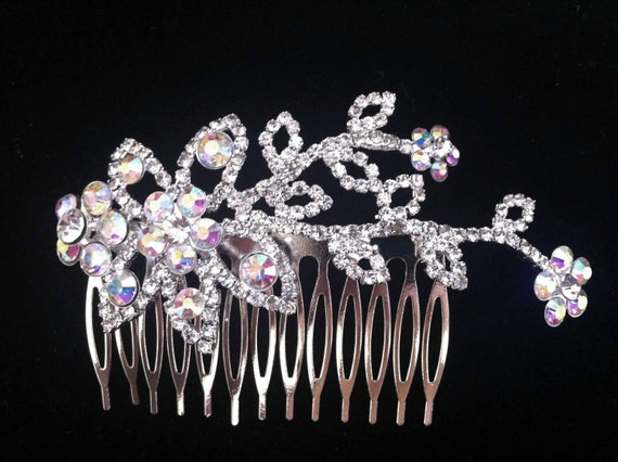 Bre flower comb with ab crystals and clear crystals