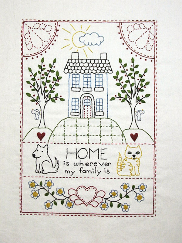 Home sampler surface embroidery pdf pattern
