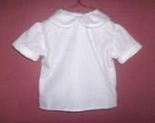 Child's White Shirt  Basic Box Cut Peter Pan Collar 2T
