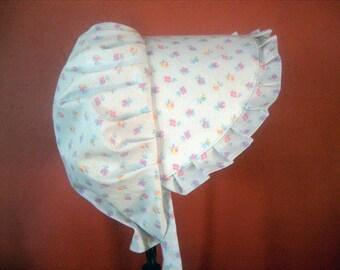 Sunbonnet Newborn Infant Bubblegum floral on lattice 0-6 months LIMITED