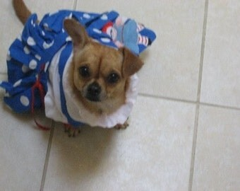 """Dog Costume Jumper Dress with Applique Small up to 16"""" spine AVAILABLE for CUSTOM ORDER"""