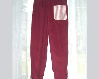 Pants Red Corduroy Cuffed with Red Ticking 4T 24USD