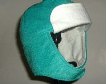 """Hat Trapper Children's Aviator Hat 20"""" Plush Teal and White Boys or Girls 3 to 10 years 20USD"""