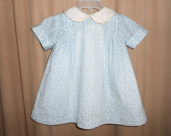Dress Baby's Blue Calico 3 months Pleated Dress