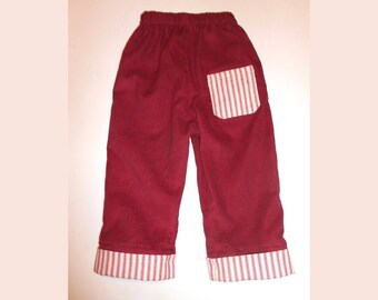 Pants Red Corduroy Cuffed with Red Ticking 18 months