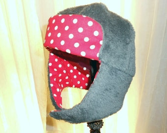 "Hat Trapper Hat Girls Gray Cuddle Fleece and Red Polka Dot Flash 20""  2T - 5T 25USD"