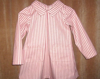 Girls Red Ticking Tunic Button Back Preschool 3T to 5T
