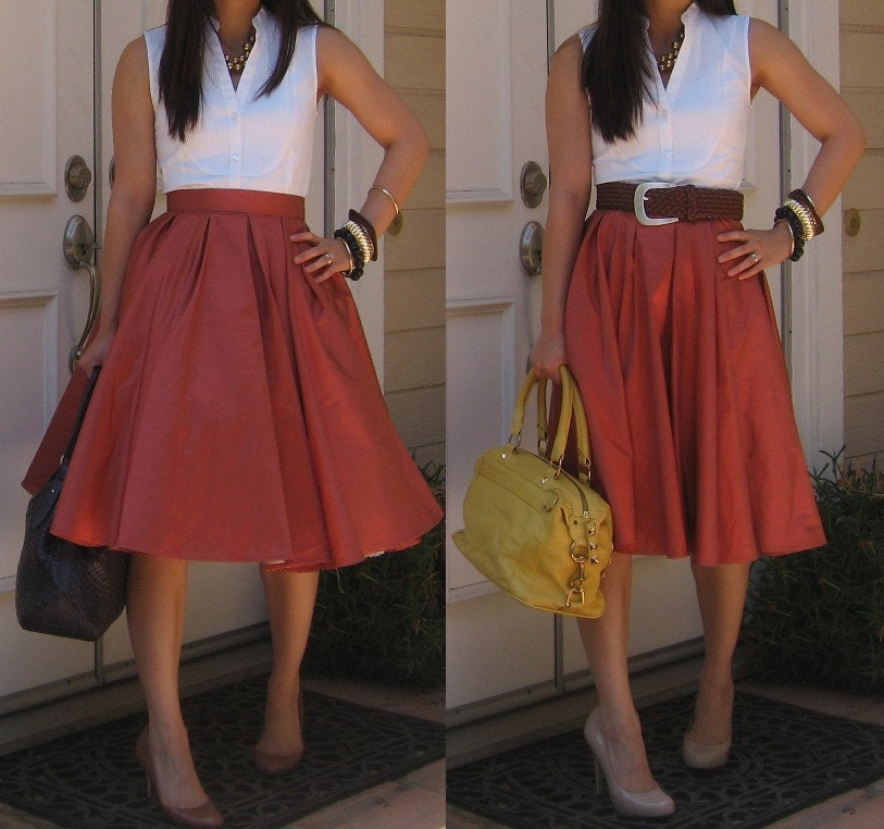 vintage look box pleated circle skirt made to by