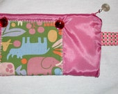 Pink Satin Jeweled Zipper Pouch