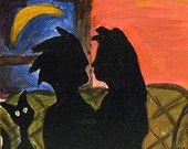 Funny Valentine's Day Art - Bad Date Painting - Kissing Couple with Cat - Original Valentine Painting - Valentine Gift