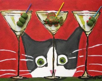 Cat Art - Silent Mylo Tuxedo Cat and the Martini - Tuxedo Cat Print -  Bar Art -  5x7  Print - Cat Gift