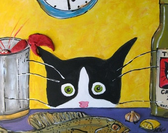 Funny Cat Art - Tuxedo Cat with Lobster - 5x7  Print - Silent Mylo Tuxedo Cat - Cat Gift