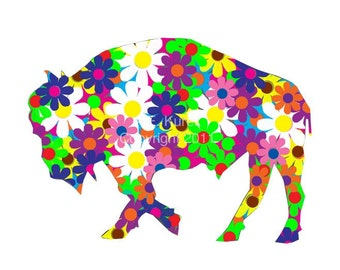 Flower Buffalo Print  approximately 8x10