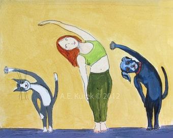 Yoga Art - Cat Art -  Dog Art - Yoga Class - 8x10 Print - Black Labrador - Tuxedo Cat - Gift for Yogi - Gift for Her