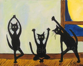 Black Cat Art - Yoga Cats - Cats Doing Yoga - Cat Art Print - 8x10 - Cat Lover Gift - Animal Print
