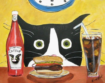 Cat Cards - Tuxedo Cat with Hamburger - Blank Note Cards - Cat greeting Cards - Cat Stationary - Gift for Cat Lovers