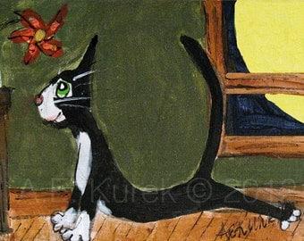 Cat Cards - Yoga Cards - Cat Art - Tuxedo Cat doing Yoga - Upward Facing Dog Cat - Blank Note Cards - Yoga Art - Yoga Gift