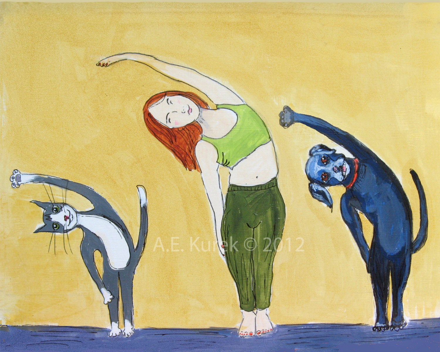 Cute Yoga Dogs Yoga art cat and dog yoga