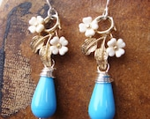 Flower and blue glass earrings