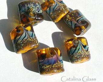 Lampwork Glass Beads by Catalina Glass SRA  Amber and Raku