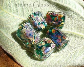 Raku and Teal 5 Lampwork Beads by Catalina Glass