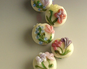 Lampwork Glass Beads SRA Come Into My Garden  by Catalina Glass