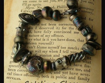 Steampunk Metallic Black 20 Lampwork Beads by Catalina Glass