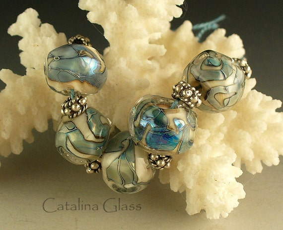 Silver Glass Nuggets 5 Lampwork Beads by Catalina Glass