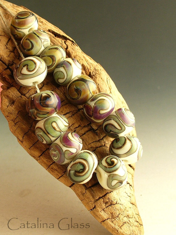 Multicolor Swirls  14 Lampwork Beads by Catalina Glass