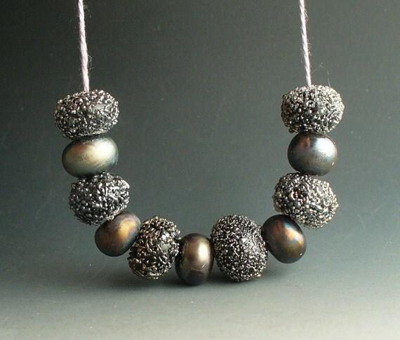 Elegant Black Texture Set   by Catalina Glass