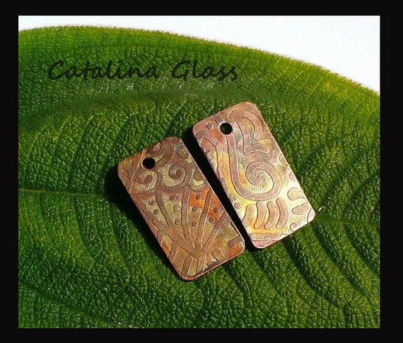 Etched Copper Earring Pair  B  by Catalina Glass
