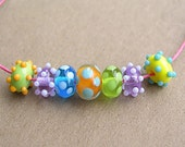 Reserved for Jill Ice Sherbert Lampwork Mini Beads- Made to order